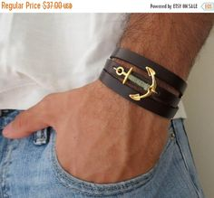 ON SALE 20% OFF Men's Bracelet Men's Anchor Bracelet por Galismens