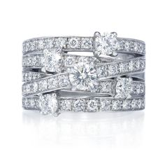 Harry Winston Crossover Ring.  5 rows of 62 round brilliant diamonds, approximately 2.00 total carats; platinum setting. Front height 12.93mm and shank height 8.2mm. Diamond Bands, Diamond Jewelry, Bridal Rings, Jewelry Box, Royal Jewelry, High Jewelry, Luxury Jewelry, Jewelery, Harry Winston Engagement Rings