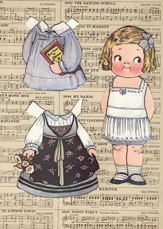 Purchased a big lot of paper dolls at an estate sale.  Most pieces had already been cut and/or some written on, etc.  I am researching them as I go along and will share images if I determine that they maybe in public domain.  I am pretty sure there maybe more outfits and dollies....still going through all of the baggies....  Grace G. Drayton, Illustrator Dolly Dingle that were available in Pictorial Review magazines during 1917 timeframe.  Please inform me if you discover that this image is…