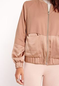 Missguided - Petite Satin Two Tone Bomber Jacket Camel