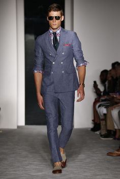 Men's Fashion | Michael Bastian | Spring 2013 | Double Breasted Linen Suit