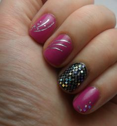 Pink and black with silver glitter and decals