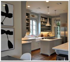 I love the color combo of this kitchen. The paint color is BM Fieldstone 1558.