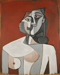 Pablo Picasso (Spanish, 1881-1973), Torso of a Woman, 1953. Oil on panel, 91.5 x 72.5,via amare-habeo