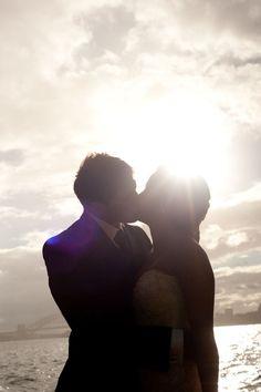Wedding photography ideas - sunset - bride and groom - kiss. awww =)