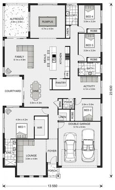 Home Design Floor Plans, Plan Design, House Floor Plans, Activity Room, Cute Cottage, T Home, House Blueprints, Display Homes, Story House