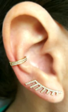 Pin This and add it to your Wishlist!  Stunning 14K Gold and Diamond Fan Climber with a Double Row Gold and Diamond Ear Cuff from The EarStylist by Jo Nayor