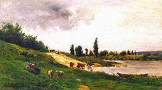 Arash Noorazar Virtual Art Gallery Daubigny, Charles (French, 1817-1878)) - Washerwomen on the Riverbank   #19th #CharlesDaubigny #Classic #Painting #Scene