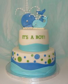 Baby Shower Whale Theme Cake. Also cute idea for under the sea party theme