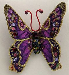 Purple Fabric Butterfly Brooch by LauraWilsonGallery on Etsy, $65.00
