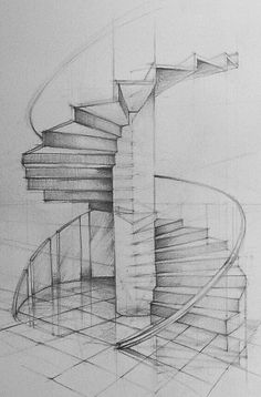 Architecture Drawing Discover stairs by yezoos on DeviantArt Architectural Design - Spiral Staircase Sketchbook Architecture, Art Et Architecture, Computer Architecture, Architecture Concept Drawings, Architecture Portfolio, How To Draw Stairs, Perspective Sketch, Perspective Drawing Lessons, Interior Design Sketches