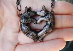 Wolf Love Necklace Heart Kissing Couple Grey Black by wcgoods, $35.00