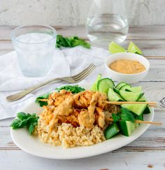 These Grilled Chicken Skewers With Satay Sauce are a healthier version of the takeaway favourite. These are great for a family meal or BBQ. Healthy Mummy Recipes, Healthy Snacks, Healthy Eating, Savoury Recipes, Kebab Recipes, Duck Recipes, Lunch Snacks, Healthy Chef, Healthy Sweets