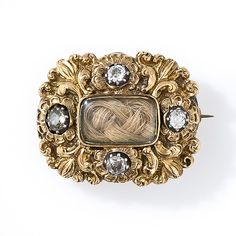 Gold and  diamond mourning brooch dated Feb, 9th, 1832