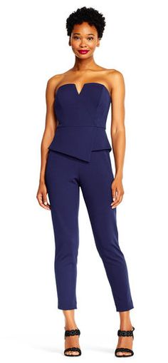 Adrianna Papell | Strapless Asymmetrical Peplum Jumpsuit with Cropped Legs