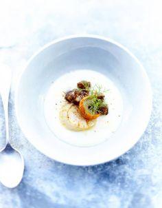 Soupe de légumes : Velouté de panais et andouille crispies
