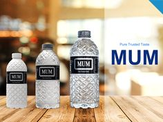 Mum Water Bottle Half Litre by Olosh Mk Water Packaging, Beverage Packaging, Bottle Packaging, Pet Water Bottle, Water Bottle Design, Agua Mineral, Mineral Water, Label Design, Packaging Design