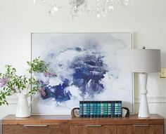 Indigo Ink Abstract Canvas by LindsayLetters