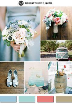 2015 spring trending aquamarine and light coral wedding color ideas