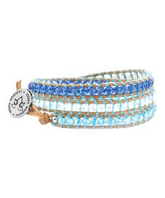 Another great find on #zulily! Joseph Nogucci Blue Crush Crystal Lotus Leather Wrap Bracelet by Joseph Nogucci #zulilyfinds