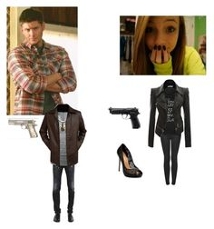 """teaching cas how to shoot~dean"" by crazymofo1999 ❤ liked on Polyvore featuring art"