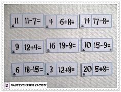Nauczycielskie zacisze: Gry matematyczne - dodawanie i odejmowanie w zakresie 20 DO POBRANIA 9 And 10, Blog, Blogging