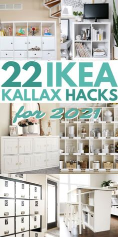 The best collection of Ikea Kallax hacks and inspiration in one place with over 20 Kallax ideas for every room of your house. From simple styling ideas to complete Kallax shelf hacks #ikeakallaxhack #ikeahacks #kallaxhack #shelf #ideas #ikea Diy Kallax, Ikea Kallax Hack, Ikea Kallax Bookshelf, Ikea Malm, Ikea Furniture Makeover, Ikea Furniture Hacks, Office Furniture, Furniture Storage, Furniture Ideas