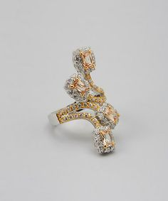 Loving this Yellow Gold & Champagne Four Strands Cocktail Ring on #zulily! #zulilyfinds