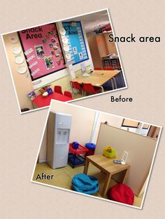 """Snack area.  Not perfect. Can you see the frame for the photographs. """"Talking points"""""""