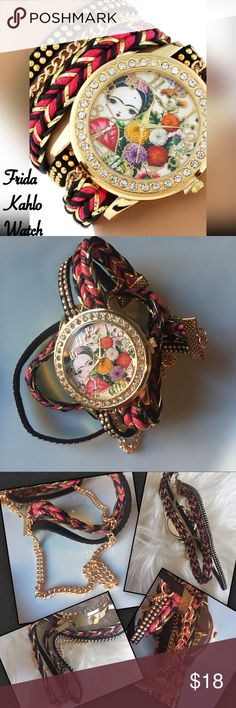 Girl Frida Kahlo Wrap Bracelet Watch Cuteness wrapped up in a bracelet style watch. Mini Girl Frida Kahlo watch entwined in a wrap style bracelet. Boho vibe with mixed colors of pink, black, gold. Clear rhinestones on the round watch with flowers and little girl Frida on the watch face. Quartz watch, bracelet clasp, alloy, band width 15 mm, band length 44 cm. Great for teens, tweens, or adults! The first photo is a stock photo, the rest are of the actual watch. Accessories Watches