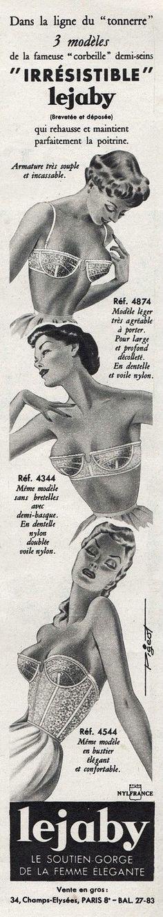 Publicite Lingerie Soutien Gorge Lejaby Mode Fashion AD 1958 2F   eBay
