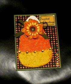Handmade Paper Pieced Adorable Candy Corn Sweetest Greetings Card | LilBitOLove - Cards on ArtFire