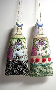 Small Cloth Folk Art Doll Ornaments. $14.00, via Etsy.