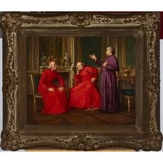 CHARLES BAPTISTE SCHREIBER (1845-1903), FRENCH CARDINALS IN DISCUSSION Inuit Art, Art Auction, Cardinals, Online Art, Art Decor, French, Contemporary, Painting, French Language