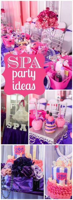 Love this gorgeous pink and purple spa tea birthday party! See more party ideas at CatchMyParty.com!