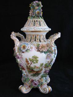 2 Antique Meissen Porcelain Hand Painted Scenic Flowers Encrusted Vase Urn