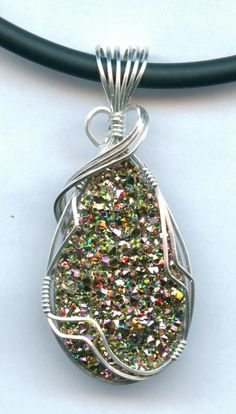 Drusy Quartz Pink Drusy Quartz and Sterling Silver Pendant