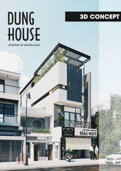 주택같은 입구에 상가 부분이 매력적, 옥상 정원을 통한 트인 구성, 프라이버시를 고려한 커튼월 Concept Models Architecture, Facade Architecture, Facade Design, Exterior Design, Home Building Design, Narrow House, House Front Design, House Elevation, Facade House