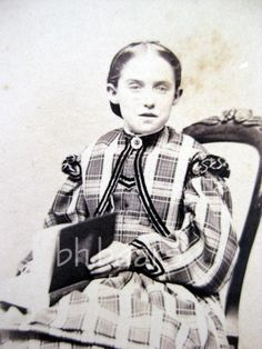 Civil War era CDV Sweet young girl in check dress holding album Currier Jones MS