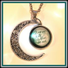 """NECKLACE ✨NWOT✨ Lovely glass cabochon necklace brightly claiming """"LOVE YOU to the MOON & BACK""""!  Tibetan Silver with 18"""" Chain.  Pendant ~¾"""" Jewelry Necklaces"""