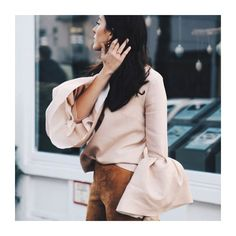 Statement Sleeves.  Love...Light...Liberty. x  Image Credit: Pinterest  #sleeves #dusky #pink #top #peach #bell #sleeves #bellsleeves #puffed #bellsleeve #cotton #suede #bare #colour #pastel #fashion #style #chic #trousers #neutral #daywear #instadaily  #instalike #lookoftheday #lotd