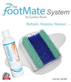 New logo & gel bottle for the FootMate® System. Your complete foot care system for cleaning, soothing, stimulating, and massaging your feet every time you shower.
