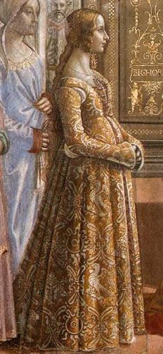 Ludovica Tournabuoni in Domenico Ghirlandaio's Birth of the Virgin from the 1480s  wearing an example of a flowered damask cioppa (gown) or gamurra (dress). Italian Renaissance costume.