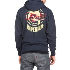 Men's 10oz. 80/20 cotton/poly navy blue full-zip hood  Made with premium heavyweight fabric Fleece lined hood Heavy gauge round drawcord with nickel eyelets 1x1 ribbing at cuffs and waistband Front and back screenprint