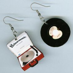 Vintage Record Player Earrings Apple 45 The by DesignsByAnnette, $16.00