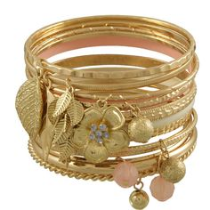 Miso Charm Bangles Set ($13) ❤ liked on Polyvore featuring jewelry, bracelets, accessories, pulseiras, pulseras, bangle jewelry, antique gold bangles, hinged bangle, bangle bracelet and charm jewelry