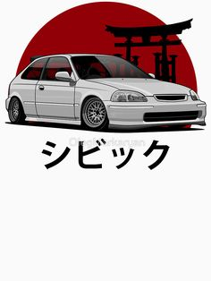 Civic EK (white) by OlegMarkaryan Honda Hatchback, Honda Vtec, Honda Civic Sedan, Honda Civic Type R, Civic Jdm, Tuner Cars, Jdm Cars, Toyota Supra Mk4, Jdm Wallpaper