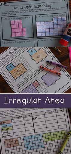 Teaching irregular area with activities using grid paper, coloring, and critical thinking skills - aligned to common core math