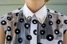 Anette Nyseth in hand-painted #Balenciaga top with metal collar tips | Photo by Anna-Alexia Basile