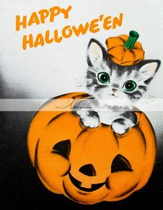 When witches go riding, and black cats are seen, the moon laughs and whispers, 'tis near Halloween. Retro Halloween, Vintage Halloween Cards, Halloween Signs, Vintage Holiday, Holidays Halloween, Spooky Halloween, Vintage Cards, Halloween Pumpkins, Happy Halloween